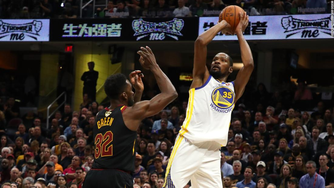 Durant, who had 43 points for the Warriors in Game 3, shoots over Jeff Green in the first half of Game 4.