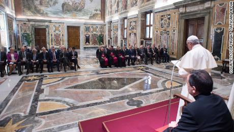 Pope Francis addresses energy industry leaders at a conference Saturday at the Vatican.