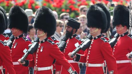 Coldstream Guards soldier Charanpreet Singh Lall dons a turban in Saturday's Trooping the Colour event.