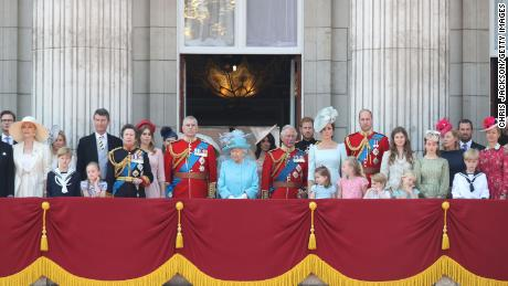 Princess Michael of Kent, Vice Admiral Sir Tim Laurence, Princess Anne, Princess Royal, Princess Beatrice, Lady Louise Windsor,  Prince Andrew, Duke of York, Queen Elizabeth II, Meghan, Duchess of Sussex, Prince Charles, Prince of Wales, Prince Harry, Duke of Sussex, Catherine, Duchess of Cambridge, Prince William, Duke of Cambridge, Princess Charlotte of Cambridge, Savannah Phillips, Prince George of Cambridge and Isla Phillips, Autumn Phillips, Peter Phillips and Lady Helen Windsor on the balcony of Buckingham Palace during Trooping The Colour on June 9, 2018 in London, England. The annual ceremony involving over 1400 guardsmen and cavalry, is believed to have first been performed during the reign of King Charles II. The parade marks the official birthday of the Sovereign, even though the Queen's actual birthday is on April 21st.