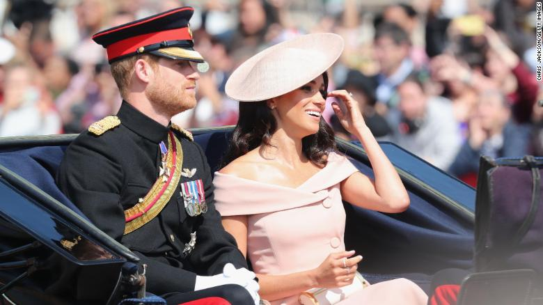 Prince Harry, Duke of Sussex and Meghan, Duchess of Sussex during Trooping The Colour on the Mall on June 9, 2018 in London, England.