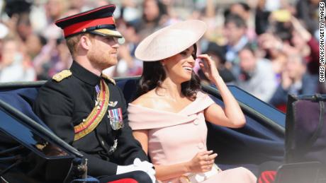 LONDON, ENGLAND - JUNE 09: Prince Harry, Duke of Sussex and Meghan, Duchess of Sussex during Trooping The Colour on the Mall on June 9, 2018 in London, England. The annual ceremony involving over 1400 guardsmen and cavalry, is believed to have first been performed during the reign of King Charles II. The parade marks the official birthday of the Sovereign, even though the Queen's actual birthday is on April 21st.  (Photo by Chris Jackson/Getty Images)