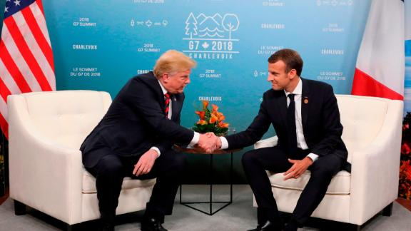 US President Donald Trump and French President Emmanuel Macron hold a meeting on the sidelines of the G7 Summit in Charlevoix, Quebec, Canada, June 8.