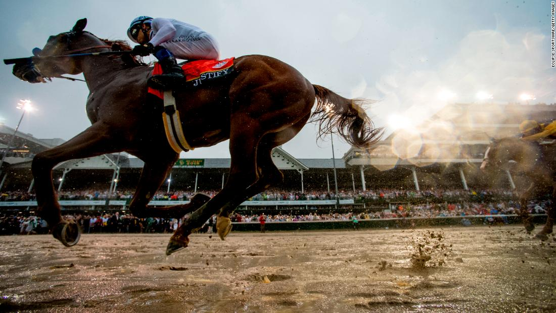 Justify, ridden by jockey Mike Smith, wins the Kentucky Derby at Churchill Downs on May 5, 2018, in Louisville, Kentucky.