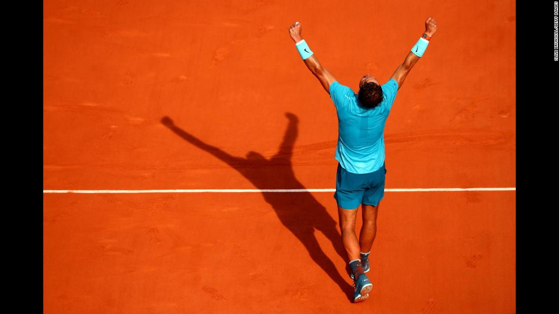 Rafael Nadal celebrates victory during his men΄s singles semi-final match against Juan Martin Del Potro during day thirteen of the 2018 French Open on Friday, June 8, in Paris. Nadal won his record 11th French Open title. It is his 17th Grand Slam title overall.