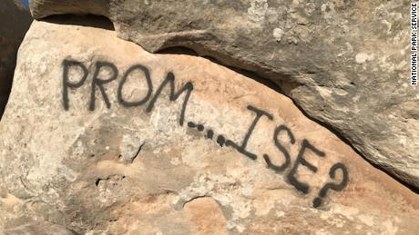This prom invitation was spray-painted on the Colorado National Monument.