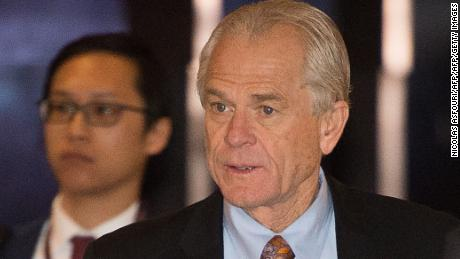 White House economic adviser Peter Navarro (C) walks through a hotel lobby as he heads to the Diaoyutai State Guest House to meet Chinese officials for ongoing trade talks in Beijing on May 4, 2018. - Top US and Chinese officials kicked off crucial trade talks on May 3 in Beijing but both sides sought to dampen expectations for a quick resolution to a heated dispute between the world's two largest economies. (Photo credit should read NICOLAS ASFOURI/AFP/Getty Images)