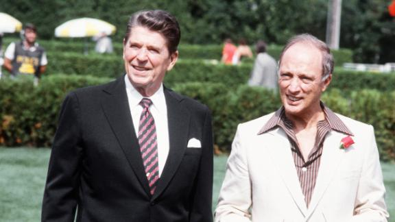 Canadian Prime Minister Pierre Trudeau and President Ronald Reagan walk together July 18, 1981 in Ottawa during a summit of the leading industrial countries.