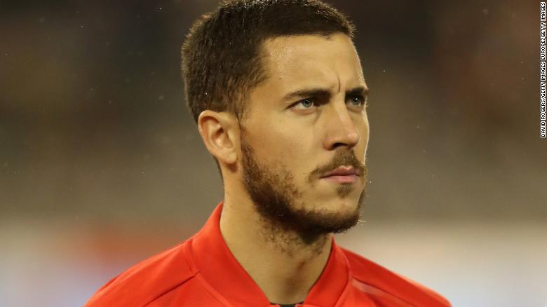 BRUSSELS, BELGIUM - MARCH 27:  Eden Hazard of Belgium looks on during the international friendly match between Belgium and Saudi Arabia at the King Baudouin Stadium on March 27, 2018 in Brussels, Belgium.  (Photo by David Rogers/Getty Images)