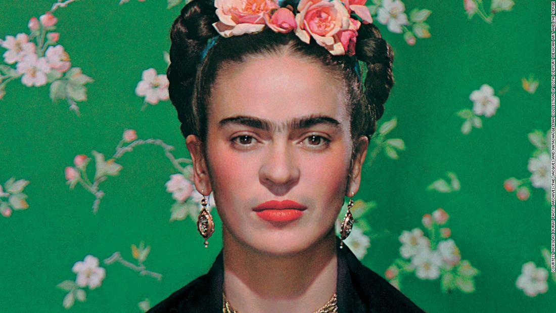 close-up portrait of Mexican artist Frida Kahlo