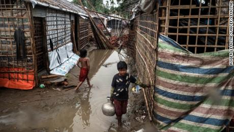 Unicef photos show damage to the homes of Rohingya refugees in a camp near Cox's Bazaar, Bangladesh.