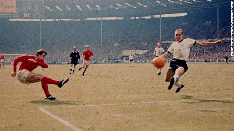 30th July 1966:  Geoff Hurst scores England's third goal against West Germany in the World Cup final at Wembley Stadium. The goal, awarded upon the judgement of the Russian linesman has remained one of the most controversial goals in the history of the competition. England became World champions with a 4-2 victory after extra time.  (Photo by Hulton Archive/Getty Images)