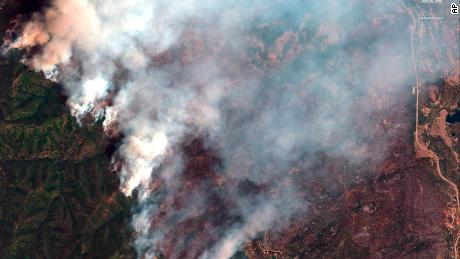 This June 10  satellite image provide by DigitalGlobe shows the 416 Fire northwest of Hermosa, Colorado.