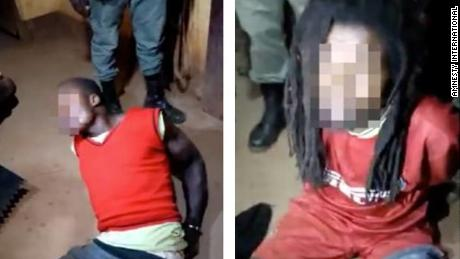 Images from Amnesty of men they say were interrogated by police  at an unidentified location in Cameroon.