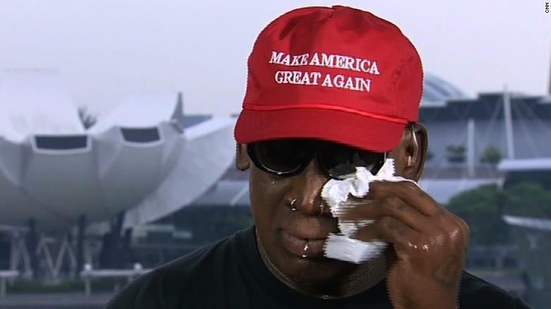 Image result for Dennis Rodman gets emotional discussing Trump and Kim