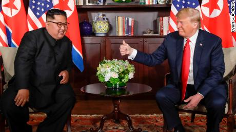 U. S. Donald Trump gives North Korea leader Kim Jong Un a thumbs up at their meeting at the Capella resort on Sentosa Island Tuesday, June 12, 2018 in Singapore.