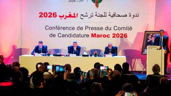 Fouzi Lekjaa (L), President of the Royal Moroccan Football Federation (FRMF), Moulay Hafid Elalamy (C), chairman of the Moroccan Committee bidding for the 2026 World Cup, and Moroccan Youth and Sport Minister Rachid Talbi Alami (2nd-R) give a press conference in Casablanca on January 23, 2018, presenting their country's pitch to host the 2026 competition. / AFP PHOTO / FADEL SENNA        (Photo credit should read FADEL SENNA/AFP/Getty Images)