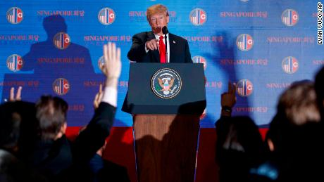 President Donald Trump speaks during a news conference after meeting with North Korean leader Kim Jong Un on Sentosa Island, Tuesday, June 12, 2018, in Singapore. (AP Photo/Evan Vucci)