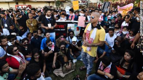 Demonstrators stage a silent protest on in Guwahati, India, on Monday demanding punishment for  those behind the killing of two men in the Karbi Anglong district of Assam.