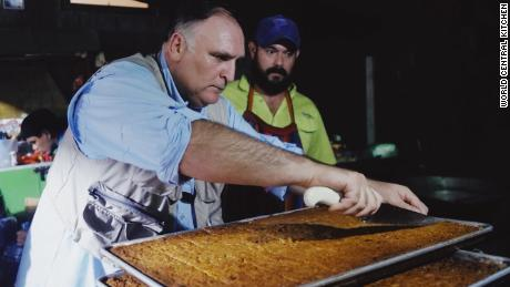 José Andrés prepping a meal to help those affected by a volcano in Guatemala last year.