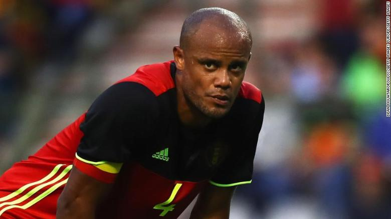 BRUSSELS, BELGIUM - JUNE 05:  Vincent Kompany of Belgium looks on during the International Friendly match between Belgium and Czech Republic at Stade Roi Baudouis on June 5, 2017 in Brussels, Belgium.  (Photo by Dean Mouhtaropoulos/Getty Images)