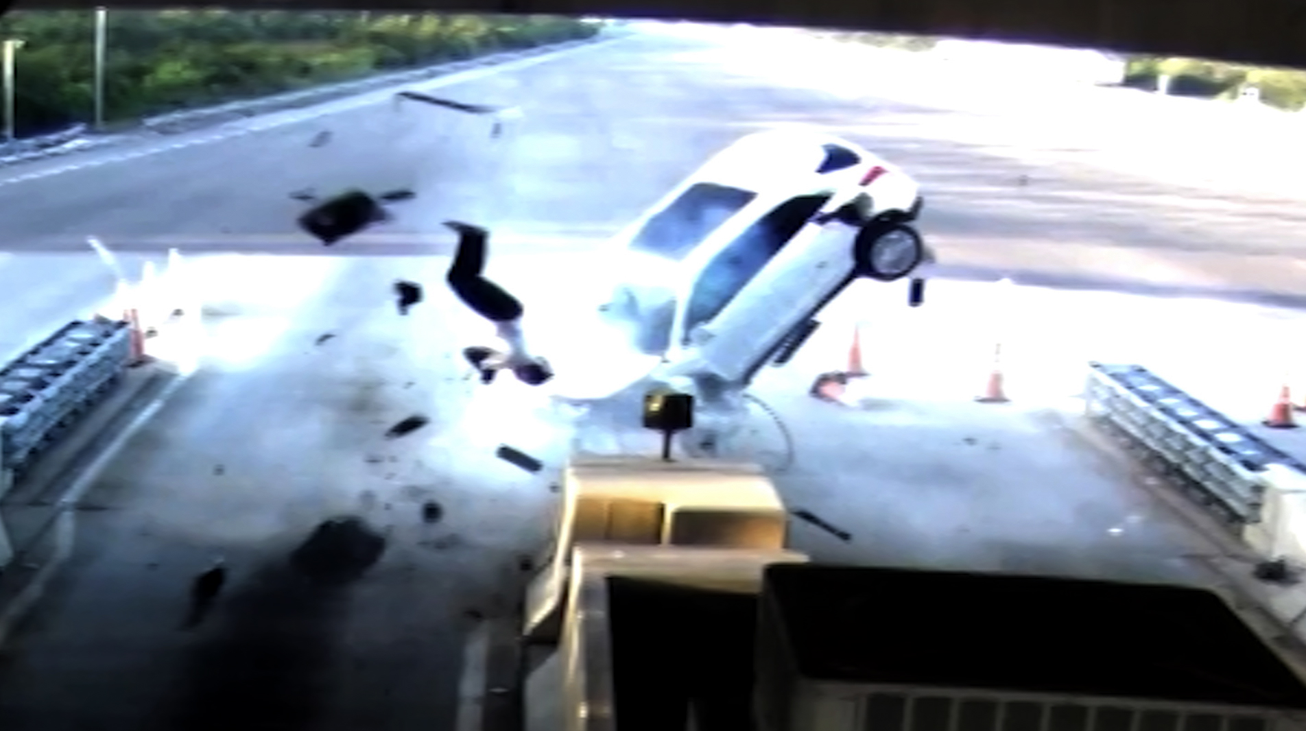 Man ejected as car slams into toll booth - CNN Video