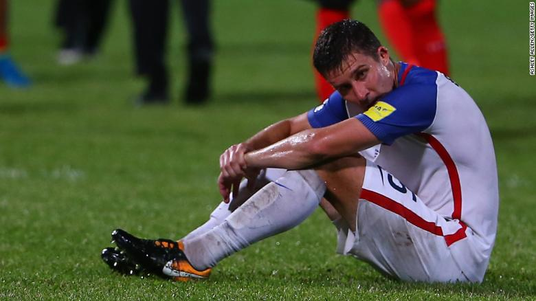 COUVA, TRINIDAD AND TOBAGO - OCTOBER 10:  Matt Besler of the United States mens national team reacts as the USA lose to Trinidad and Tobago 2-1 during the FIFA World Cup Qualifier match between Trinidad and Tobago at the Ato Boldon Stadium on October 10, 2017 in Couva, Trinidad And Tobago. (Photo by Ashley Allen/Getty Images)
