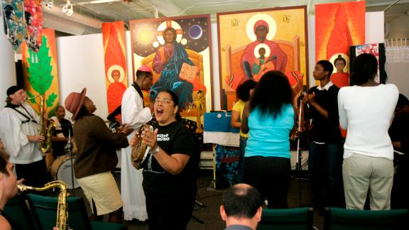 Congregants cheer during a 2008 service at the St. John Will-I-Am Coltrane Church in San Francisco.