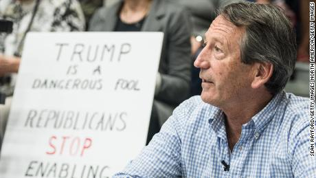 HILTON HEAD, SC - MARCH 18: Rep. Mark Sanford (R-SC) waits for his introduction during a town hall meeting March 18, 2017 in Hilton Head, South Carolina. Protestors have been showing up in large numbers to congressional town hall meetings across the nation. (Photo by Sean Rayford/Getty Images)