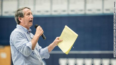 HILTON HEAD, SC - MARCH 18: Rep. Mark Sanford (R-SC) addresses the crowd during a town hall meeting March 18, 2017 in Hilton Head, South Carolina. Constituents have been showing up in large numbers across the nation to congressional town hall meetings to voice their concerns. (Photo by Sean Rayford/Getty Images)