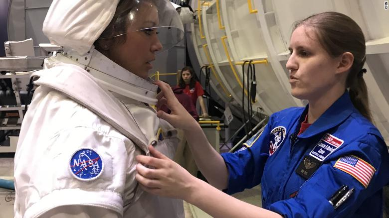 CNN's Brooke Baldwin suits up for astronaut training at Space Camp in Huntsville, Alabama.