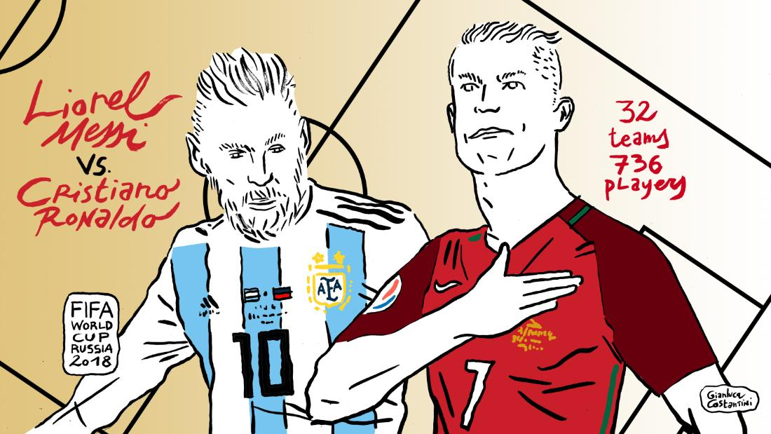 Gianluca Costantini is famous in his native Italy for his satirical drawings. Here he depicts rival superstar footballers Lionel Messi and Cristiano Ronaldo in advance of the Russia 2018 World Cup. Here are some of his other depictions of the tournament.