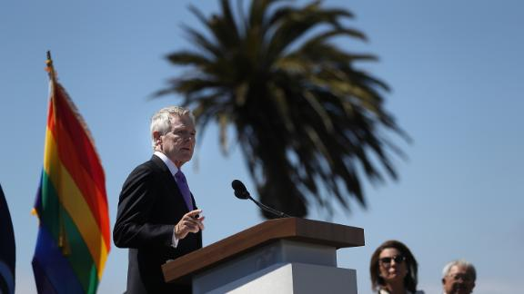 SAN FRANCISCO, CA - AUGUST 16:  U.S. secretary of the Navy Ray Mabus speaks during a ship naming ceremony for the new USNS Harvey Milk on August 16, 2016 in San Francisco, California. U.S. Navy officials announced plans to name a new replenishment oiler ship after slain civil rights leader Harvey Milk. Six new ships in the class with be named after civil and human rights leaders.  (Photo by Justin Sullivan/Getty Images)