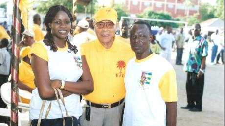 Farida and her father (far right) at a rally in Lome, Togo, January 2008
