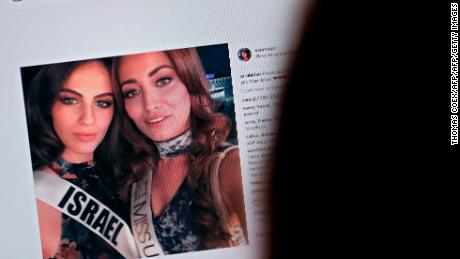 A picture taken in November 2017 shows the Instagram photo posted by Sarah Idan, Miss Iraq, of a selfie she took with Miss Israel, Adar Gandelsman.
