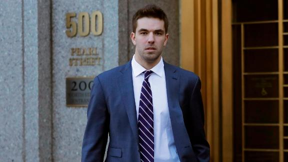 Billy McFarland, the promoter of the failed Fyre Festival in the Bahamas, leaves federal court after pleading guilty to wire fraud charges, Tuesday, March 6, 2018, in New York. He faces a sentence of 8 to 10 years. (AP Photo/Mark Lennihan)