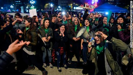 Women favoring the legalization of abortion chant slogans June 4 in Buenos Aires, Argentina.
