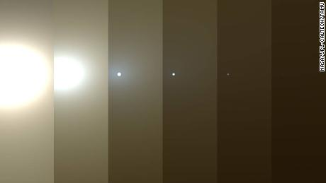 Simulated views of a darkening Martian sky blotting out the sun from the Opportunity rover's point of view, with the right side simulating Opportunity's current view.
