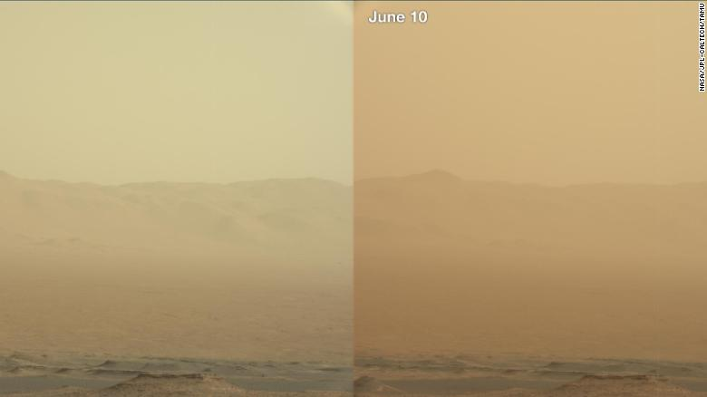 美国宇航局好奇号探测器的这两个观点 - 从6月7日,6月10日和6月10日 - 展示了沙尘暴主要来源于沙尘暴三天以来的增加情况。