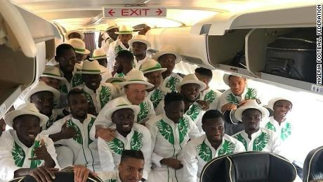 Nigerian World Cup team on the plane enroute Russia