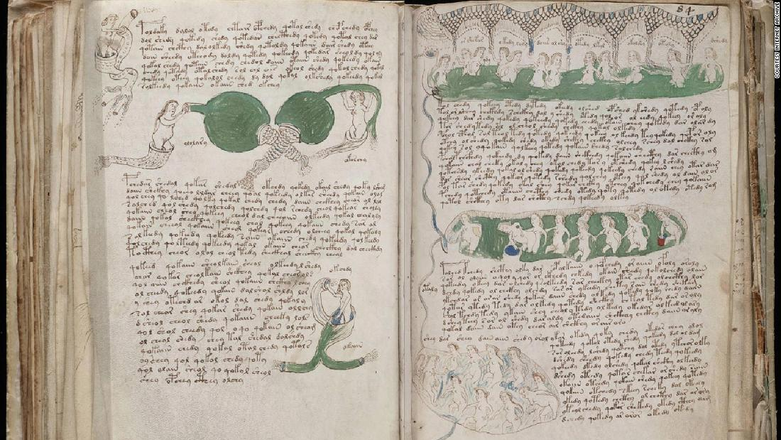 The contents of the manuscript are widely believed to be related to medicine. Illustrations include these women, apparently bathing in pools of green liquid.