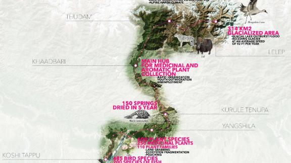 Nepal may look like a small country on a map, especially when compared to its neighbors China and India, but it covers six climatic zones ranging between 220ft and 28,000ft above sea level.