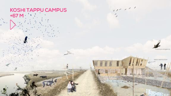 These are nothing like typical university campuses. Each design embodies sustainability and actively works to safeguard the surrounding ecosystem. In Koshi Tappu (220ft above sea level), the campus architecture is responsive to flash flooding, a major issue in the plains.
