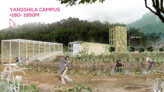 The Yangshila campus (590ft to 6390ft) has been designed to have vertical gardens and seed banks to help secure food supply when there are landslides. Vertical University has already piloted the outdoor education program with sixth graders in Yangshila, taking students out of school a day a week to teach them about the water cycle, recycling and other issues.