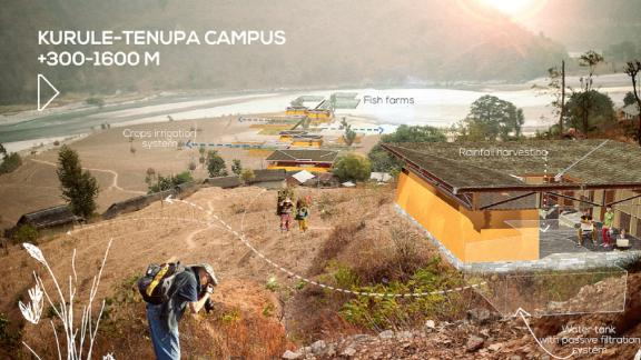 In Kurule-Tenupa (980ft to 5,250ft), the campus will collect rainwater to help communities to adapt to droughts.