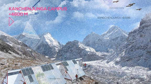 In Lelep (15,091ft) and within view of the world's third tallest peak, Kanchenjunga, the campus will generate data about what is happening to glaciers and demonstrate how to confront glacial lake outburst floods. Vertical University estimates that all campuses will completed within three to five years, costing between $1.5 and $2 million. The project is dependent on crowdfunding.