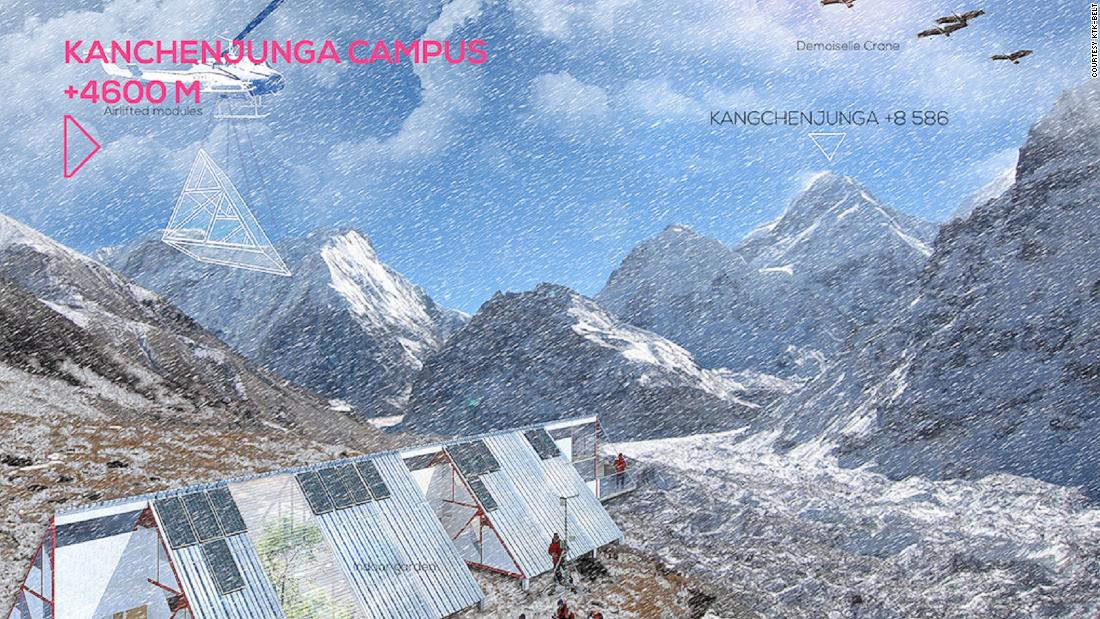 "In Lelep (15,091ft) and within view of the world's third tallest peak, Kanchenjunga, the campus will generate data about what is happening to glaciers and demonstrate how to confront <a href=""http://www.cnn.com/2009/TECH/science/10/05/himalayas.glacier.conflict/index.html"">glacial lake outburst floods</a>. Vertical University estimates that all campuses will completed within three to five years, costing between $1.5 and $2 million. The project is dependent on crowdfunding."