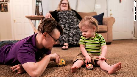 "Sabastion plays with Jaxen in their suburban Atlanta home. ""I'm going to be a better father being comfortable in myself."""