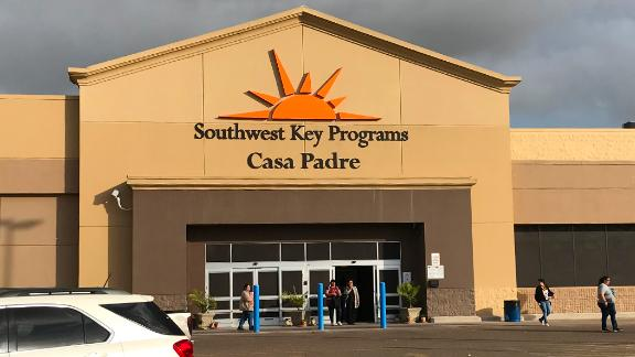 The Casa Padre shelter in Brownsville is housed in a former Walmart superstore.