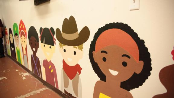 A mural at the shelter.